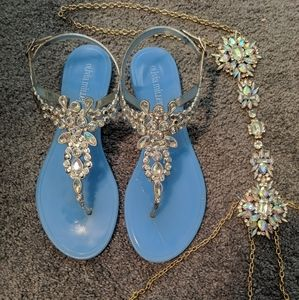 Rhinestone Sandals & Necklace accessory